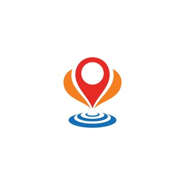 Map pin logo icon  location sign template vector
