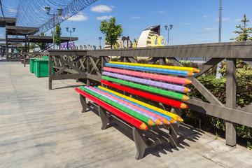 Colored bench on the embankment of Kazan