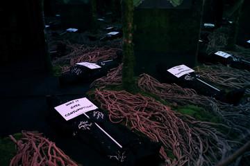 A display at the Zero Waste Daniel immersive fashion show at Arcadia Earth in the Manhattan Manhattan borough of New York City