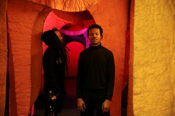Models present creations before the Zero Waste Daniel immersive fashion show at Arcadia Earth in the Manhattan Manhattan borough of New York City