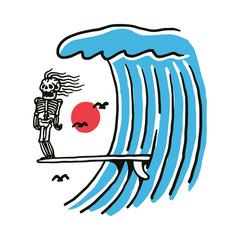 Obraz Skeleton Summer Surf Beach Line Graphic Illustration Vector Art T-shirt Design - fototapety do salonu