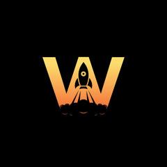 Web Rocket Logo design template ,Rocket logo ,Letter W logo ,Vector illustration
