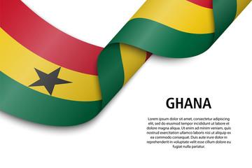 Waving ribbon or banner with flag Ghana