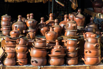 Traditional kitchen utensils made from clay pottery