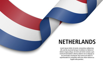 Waving ribbon or banner with flag Netherlands