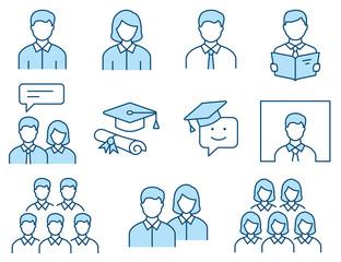 Students flat line icon set. Vector illustration. Editable stroke.