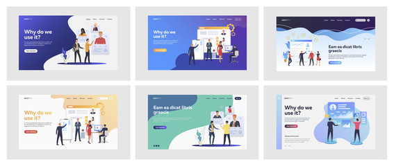 Set of managers discussing candidates profiles. Flat vector illustrations of people analyzing statistics. Human resource management, analytics concept for banner, website design or landing web page