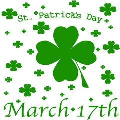 picture for St. Patrick's day with the image of clover leaves, words: St. Patrick's day, March 17