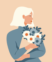 Beauty woman with blond hair holding a bouquet of spring flowers. Vector concept of pastel colors for the Mother's day, Valentine's day, March 8 women's day.