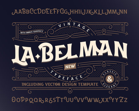 Vintage vector font with beautiful classic design ornate