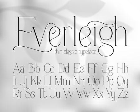Thin classic style font with grayscale abstract background