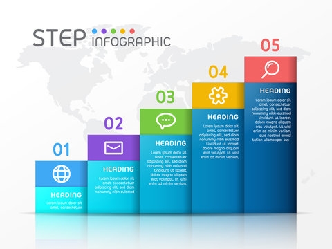 Geometric shape elements with steps,options,processes or workflow.Business data visualization. Creative step graph infographic template for presentation,vector illustration.
