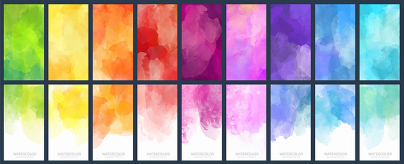Big set of bright vector colorful watercolor background for poster, brochure or flyer Fotobehang