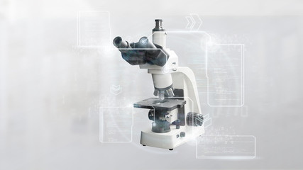 Microscope and data - 3d rendering