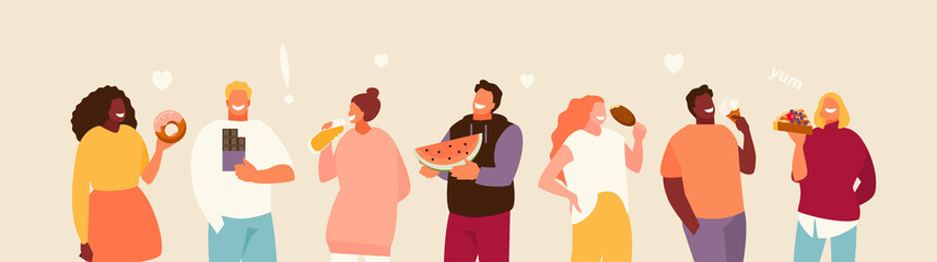 Group of happy people eating sweets. Body positive and enjoyment of food vector illustration