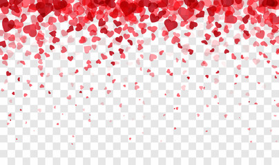 Valentines day card. Heart confetti falling over pink background for greeting cards, wedding invitation.
