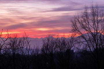 Beautiful sunset on the italian mountains in the Varese region.