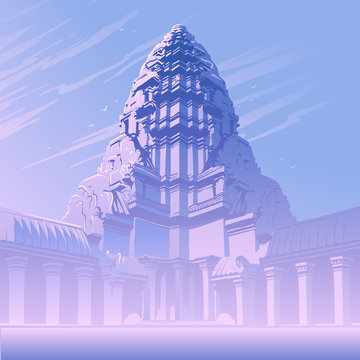 Centerpiece of the Angkor Wat temple complex in Cambodia representing the sacred Mount Meru of the Hindu religion. Sunrise misty panorama. Vintage poster. EPS10 vector illustration