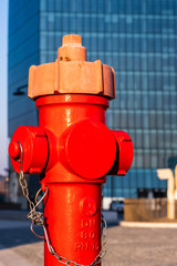 Red Fire Hydrant in city center