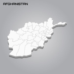 Afghanistan 3d map with borders of regions