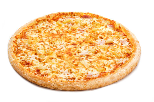 Fresh italian classic original pizza isolated on white background.