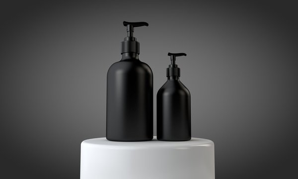 Black cosmetic skincare makeup containers. 3D Render