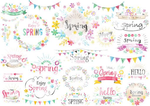 春のタイトル文字2水彩