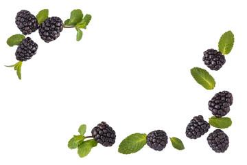 Fresh blackberries border.