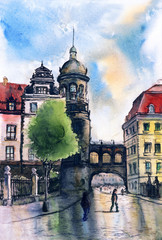 Hand drawn urban landscape. Illustration of european city