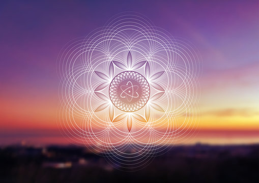Vector template of banner with spiritual sacred geometry on blurred background with sky and sea, horizontal format; Fantastic mandala and atom; Poster for yoga, meditation, relax.