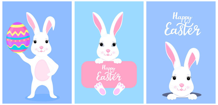 Set of funny white Easter bunnies. White rabbit peeking out of a hole