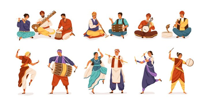 Collection of cartoon indian street artists vector flat illustration. Set of smiling people musicians and dancers isolated on white background. Characters in traditional dress playing instruments