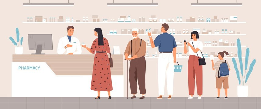 Smiling cartoon pharmacist and clients in counter at pharmacy vector flat illustration. Different positive people standing in queue at drugstore. Colored customers characters buying medicines