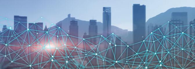 Modern City skyline Digital Wireless network internet technology. Communication concept. Wall mural