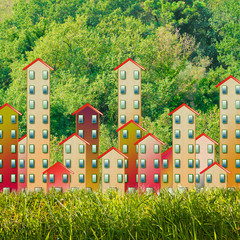Cities and green spaces - concept image with a residential neighborhood surrounded by a forest