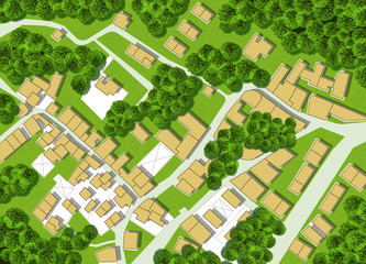 Imaginary city map with residential buildings, roads, gardens green areas and trees - green city concept image
