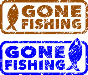 Gone fishing stamps. Grunge texture.
