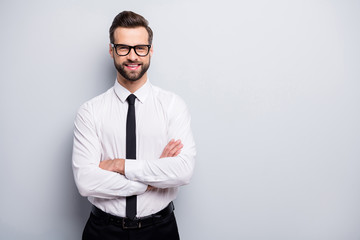 Fototapeta Photo of handsome young business man bossy crossed arms friendly smiling meet colleagues partners wear specs white office shirt black trousers tie isolated grey color background obraz