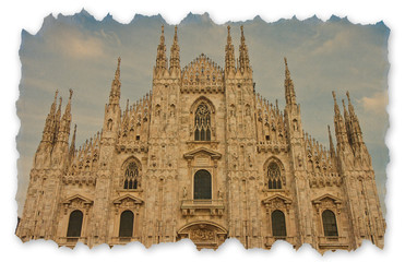 Facade of the Gothic cathedral in Milan (Lombardy - Italy) - Retro style concept image with recycled cardboard with torn edges