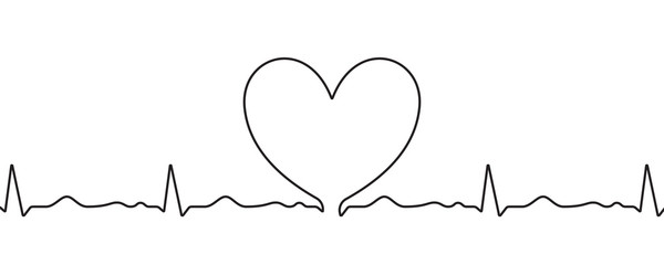 Fototapete - Heart sketch on heartbeat pulse in doodle, vector hand drawn thin line heart isolated on white background. Wedding love, Valentine day, birthday or cardiology charity heart, scribble shape design