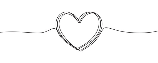 Heart sketch doodle, vector hand drawn heart in tangled thin line thread divider isolated on white background. Wedding love, Valentine day, birthday or charity heart, scribble shape design