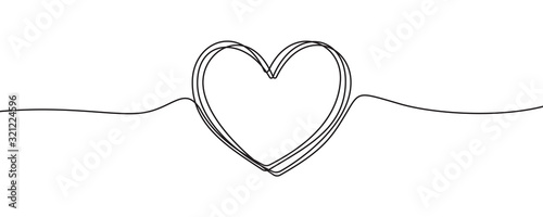 Fototapete Heart sketch doodle, vector hand drawn heart in tangled thin line thread divider isolated on white background. Wedding love, Valentine day, birthday or charity heart, scribble shape design
