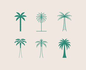 Obraz Vector logo design template with palm tree - abstract summer and vacation badge and emblem for holiday rentals, travel services, tropical spa and beauty studios - fototapety do salonu