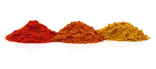 Fototapeta Three piles of spices. obraz