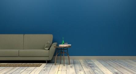 szablon makieta tło w nowoczesnym projekcie wnętrza classic blue kolor roku 2020 pusta ściana po prawej stronie rendering 3d