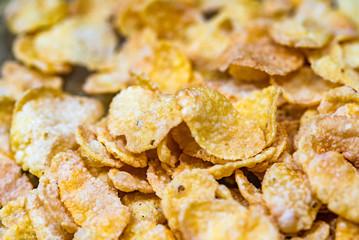 Makro hintergrund goldene corn flakes