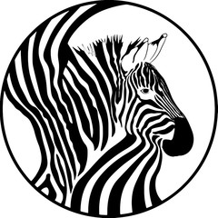 image of a zebra in a circle in black and white style and colorful with rainbow colors