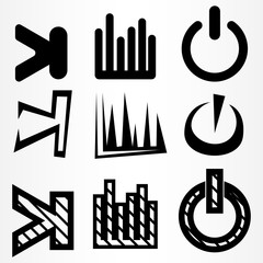 A set of nine icons. Icons for start, pause and turn on, turn off.