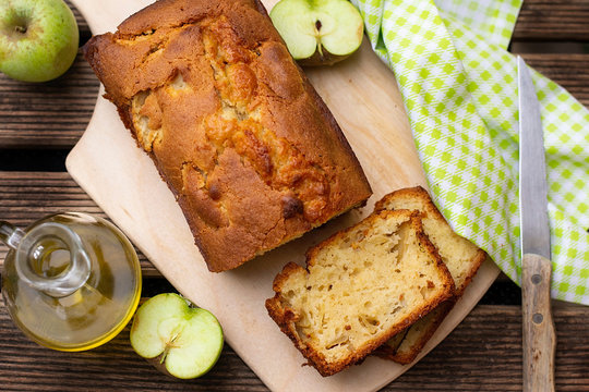 Homemade sweet apple cake with olive oil