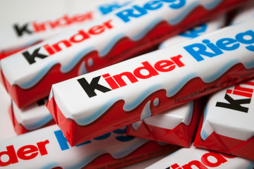 Mulhouse - France - 6 February 2020 - Closeup of Kinder chocolate bar by ferrero compagny on white background